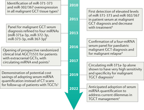 Timeline of work demonstrating the clinical utility of circulating microRNA assessment in malignant germ cell tumours. GCT, germ cell tumour; miRNA, microRNA; TGCT, testicular GCT.